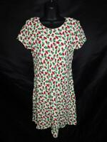Vintage Jessica Howard PS S White Red Cherry Print Dress Short Sleeve Petite 8P