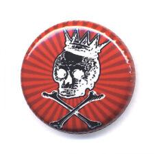 Badge CANIBAL SKULL KING Rouge tête de mort os bones calavera punk button Ø25mm