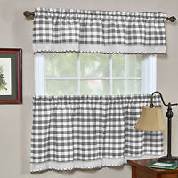 Buffalo Check Gingham Kitchen Curtains Tiers or Valance - Gray