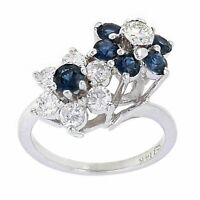 14k White Gold 0.58ctw Sapphire & Diamond Entwined Flower Cluster Ring Size 6