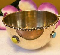 "Brass Spice Decorative Bowl from India  4""W x 2-1/2""H With Gemstone Inlay"