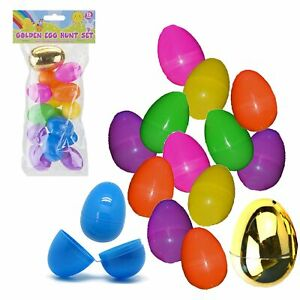 Easter Egg Hunt Accessories and Games - Fillable Eggs 15 Pack 4cm with Gold Egg