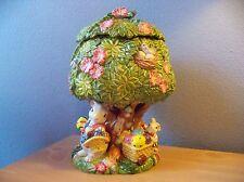 Rare 1996 Fitz Floyd Easter Bunny Bunnies Rabbit Busy Tree House Cookie Jar