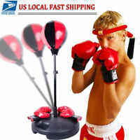 Adjustable Height Kids Punching Ball Bag Speed Boxing Sports Set + Gloves Gift