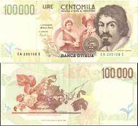 1994 Italia Banconota Lire 100000 Caravaggio 2 Tipo D.M. 12-05-94 Circolata