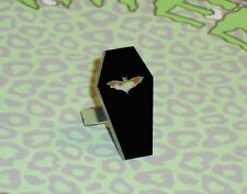 COFFIN RING GOTHIC ADJUSTABLE BLACK CUT OUT BAT