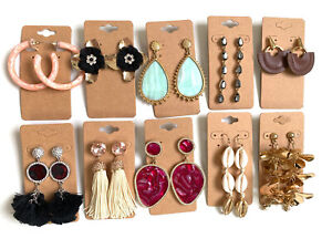 Wholesale Lot of 10 Pairs of Statement Earrings Rhinestone  New #249