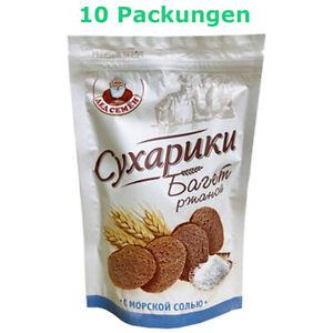 Roggenbrot Croutons Baguette mit Meersalz 10 Packungen Brotchips