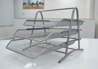 3 Tier Executive Mesh filing Letter Tray  Black / Silver ,218L x 357W 335H MM
