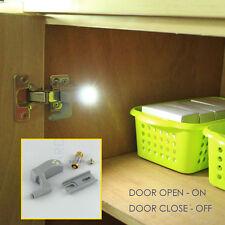 2x cabinet hinge led light cupboard kitchen door universal fixing