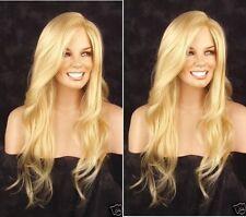 Wie Echthaar! Neu Lange Haar Helle Gold blond Mode Gewellt Perücken