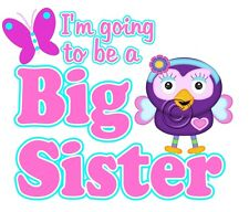 IRON ON TRANSFER I'M GOING TO BE A BIG SISTER HOOT OWL BUTTERFLY hootabelle