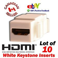10x Lot Keystone Jack - HDMI Female to Female Coupler Adapter (White) Wholesale