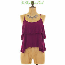 BAND OF GYPSIES URBAN OUTFITTERS DOUBLE LAYER KNIT TIERED TANK CROCHET TOP S B61