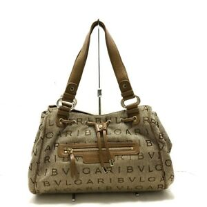 Auth BVLGARI Becky Beige Brown Jacquard  Leather Tote Bag