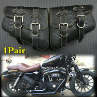 Left+Right Crocodile Leather Saddlebags Motorcycle 2Side Pouch Saddle Panniers