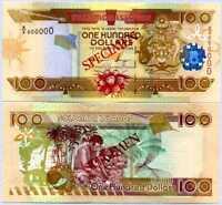 Solomon Islands 100 Dollars ND 2009 P 30 Specimen A/4 000000 UNC