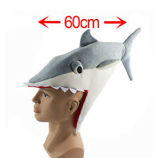 Gray Shark Hat Eater Roleplay Plush Funny Jaws Fancy Dress Fit Unisex X'mas