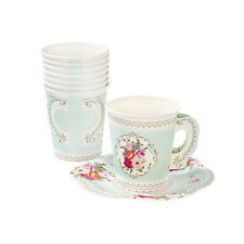 12 x Truly Scrumptious Vintage Style Paper Cups & Saucers