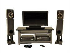 Dolls House Modern Silver Grey Entertainment Centre Console TV DVD Speakers