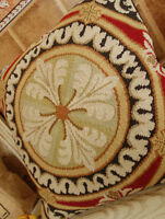 "18"" Vintage Hand Crafed Wool Needlepoint Pillow Cushion Round Medallion"