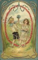 Easter - Children Dance Orante Border Gold Embossed c1910 Postcard