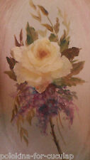 Vintage? Rectangular Single Yellow Rose PAINTING with Lilacs, Josephine Kroll