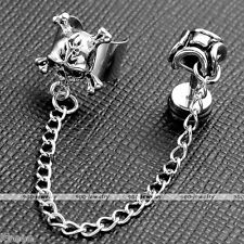 Punk Stainless Steel Chain Skull Ear Cuff Clip on Earring Cartilage Stud Men's