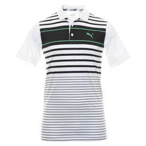 Puma Golf Mens Spotlight Moisture Wicking DryCell Polo Shirt Black-White 40%Off