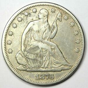1876-CC Seated Liberty Half Dollar 50C Carson City Coin - VF / XF Details!