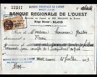"""BRIARE / BLOIS (45 / 41) BANQUE """"BANQUE REGIONALE DE L'OUEST"""" en 1929"""