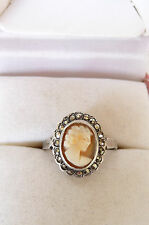 Vintage Silver and Marcasite Hand Carved Shell Cameo Dress Ring Size O