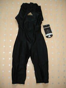"NEW Adidas JetConcept Black Hydrasuit Swimsuit UK/US 32"" High Neck Zip Back D36"