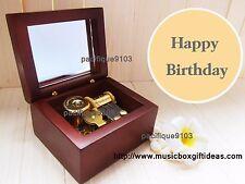 Wooden Windup Sankyo 18-Note Music Box Happy Birthday Gift for Her Him Kids