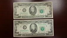 Lot of 2 Two Old $20 US Notes Bills (1988A) $40.00 Face Value