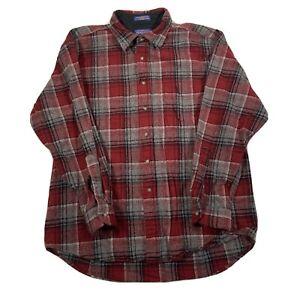 Vintage Pendleton Red & Grey Check Pure Virgin Wool Button Up Shirt - Mens XL