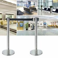 2x Retractable Crowd Control Barriers Queue Pole Post Stanchions 2m Belt Set