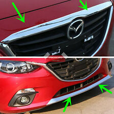 2pcs Chrome Front Bumper + Hood Molding Trim For Mazda 3 2014-2016 AXE