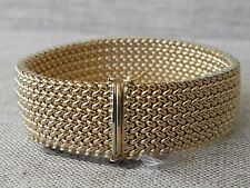 Heavy Woven Wide Solid 14K Yellow Gold Bracelet