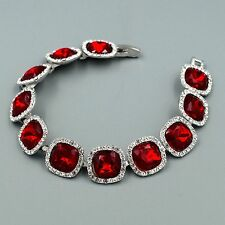 Hot Rhodium Plated Red Ruby Crystal Rhinestone Bracelet 08670 Fashion Jewelry
