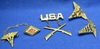 WWII Sterling Army Infantry, Medical Doctor & Physical Therapist Insignia Lot