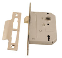 3 Lever Mortice Sash Door Lock 2 1/2 Inch or 3 Inch Brass or Chrome
