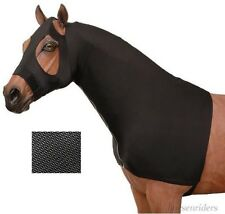Horse Mesh Lycra Mane Stay Slinky - Hood - Full Zipper - Black - Size Medium