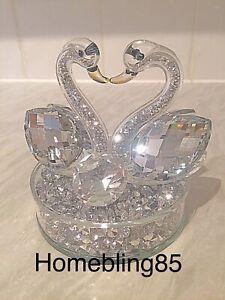 Silver Crushed Diamond Swan Ornament, Bling Diamante Home Decor Wedding Gift