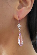 Estate 20ct Kunzite & 1.50ct Rose Cut Diamond Platinum & 18K Gold Drop Earrings