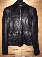 Zadig Voltaire Black Leather Jacket, Women UK 10, Men XS