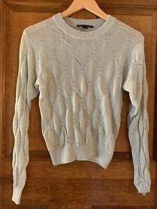 THEYSKENS' THEORY Mint Green Silk Sweater Cropped M Med Medium