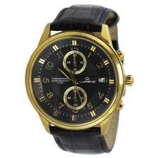 Orologio Cronografo Uomo Lorenz 026815BB2 Cassa Acciaio PVD Oro Pelle Nero