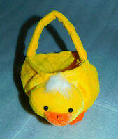 """Target Yellow Duck Chick Mini Basket Plush Handle Easter Eggs 6"""" Cloth Lined"""