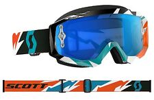 MASCHERA MASCHERINA MX CROSS SCOTT HUSTLE CRACK BLU ARANCIO WHITE SPECCHIO